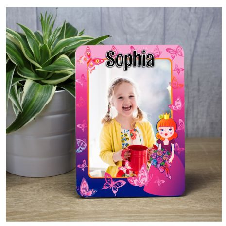 Personalised Happy Birthday Princess Butterflies Wood Photo Panel F3 - Any Age